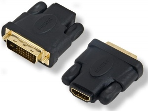 Adapter gniazdo HDMI-WTYK DVI gold